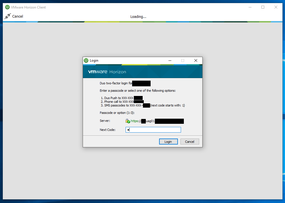 Duo MFA 2FA Prompt on VMWare Horizon Client Login