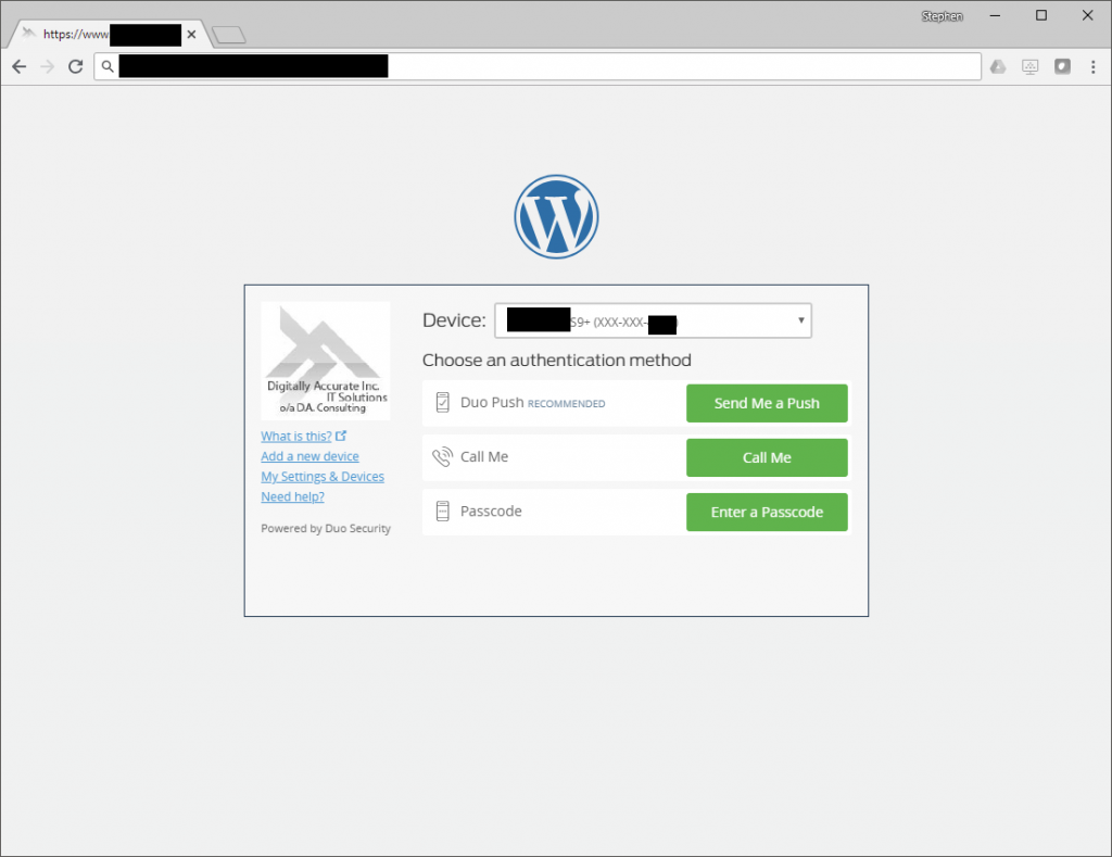 Duo MFA 2FA Prompt on WordPress Login